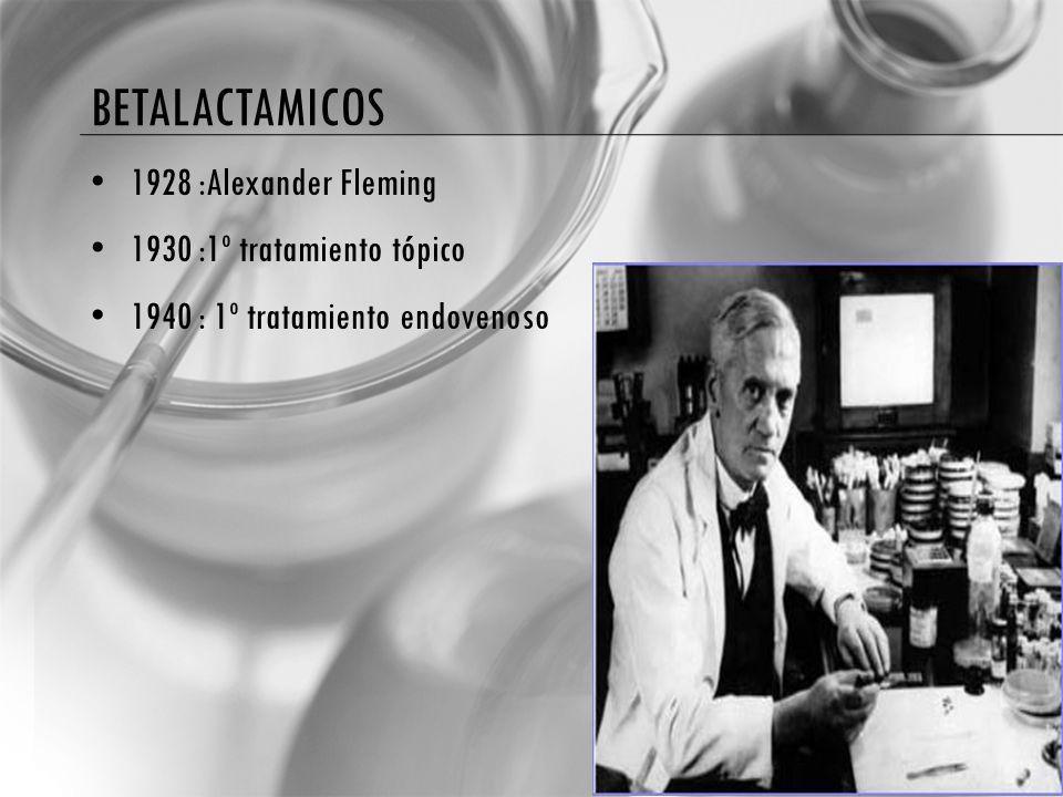 betalactamicos 1928 :Alexander Fleming 1930 :1º tratamiento tópico