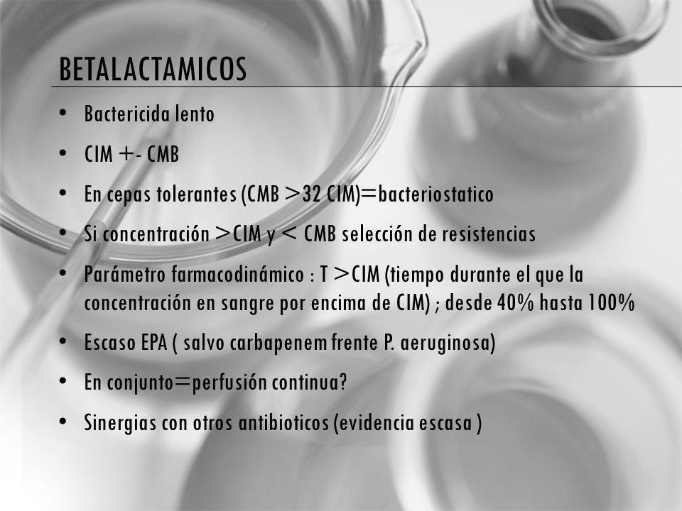 betalactamicos Bactericida lento CIM +- CMB