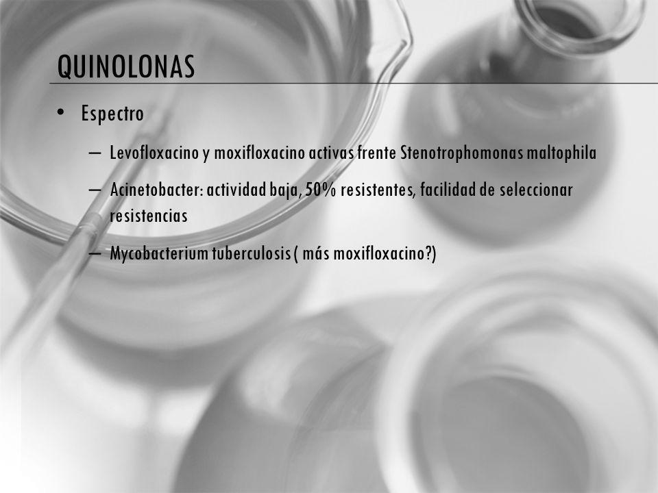 QUINOLONAS Espectro. Levofloxacino y moxifloxacino activas frente Stenotrophomonas maltophila.