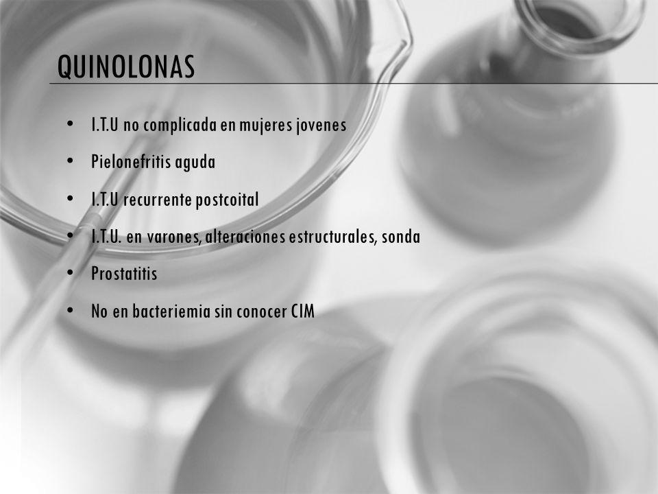 quinolonas I.T.U no complicada en mujeres jovenes Pielonefritis aguda