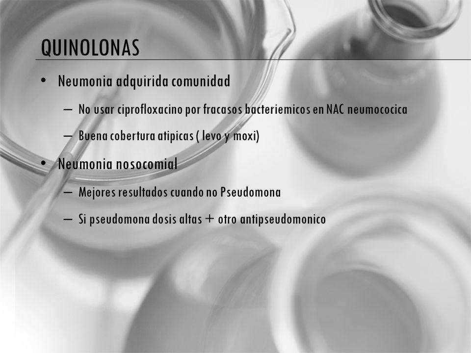 quinolonas Neumonia adquirida comunidad Neumonia nosocomial
