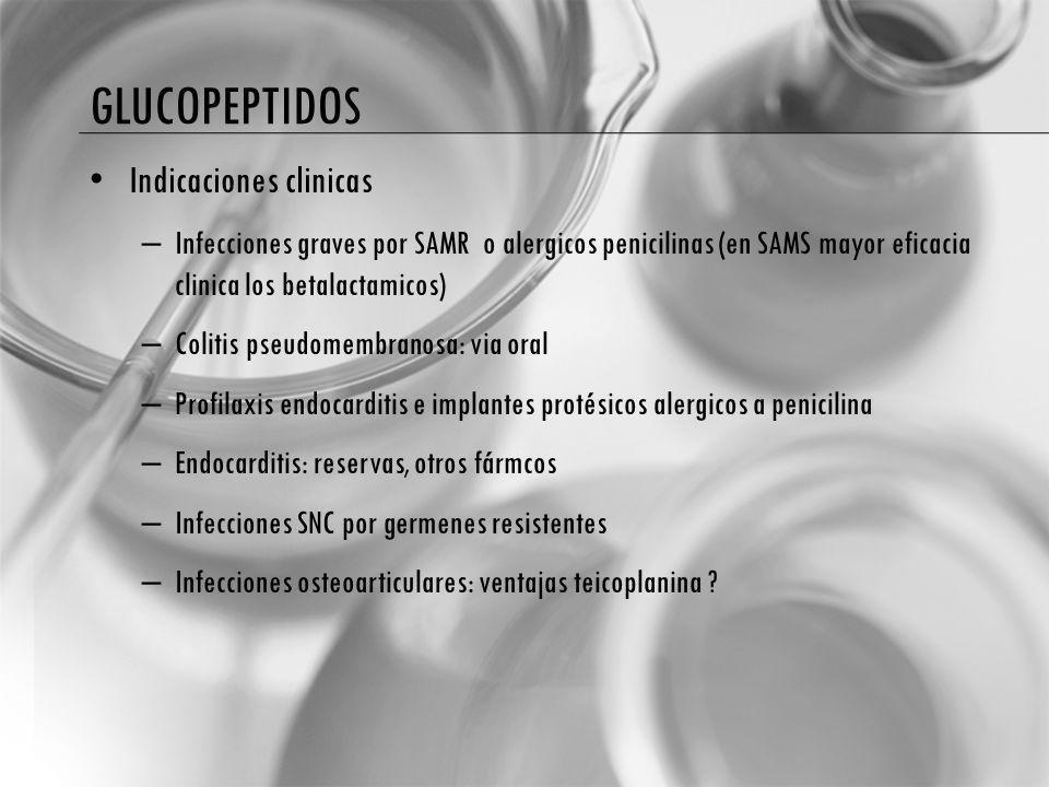 glucopeptidos Indicaciones clinicas