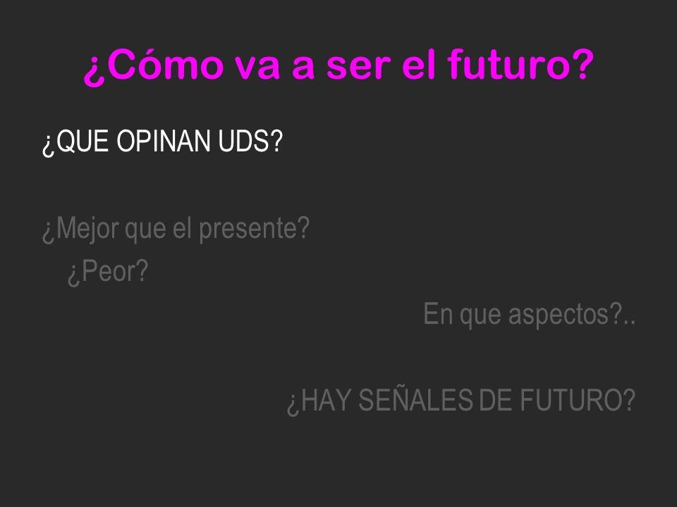 ¿Cómo va a ser el futuro. ¿QUE OPINAN UDS. ¿Mejor que el presente.