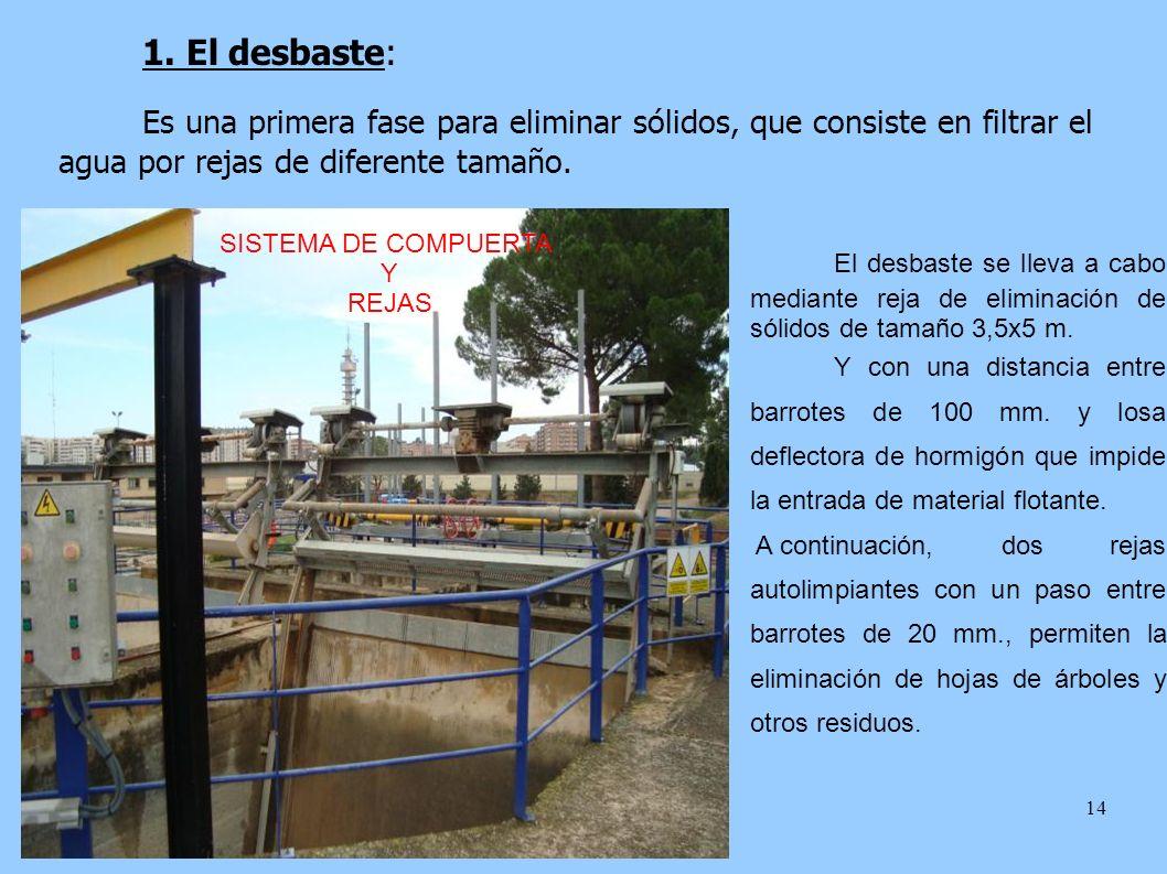 1. El desbaste: Es una primera fase para eliminar sólidos, que consiste en filtrar el agua por rejas de diferente tamaño.