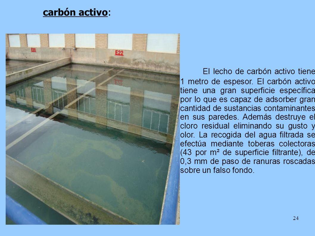 El lecho de carbón activo tiene 1 metro de espesor
