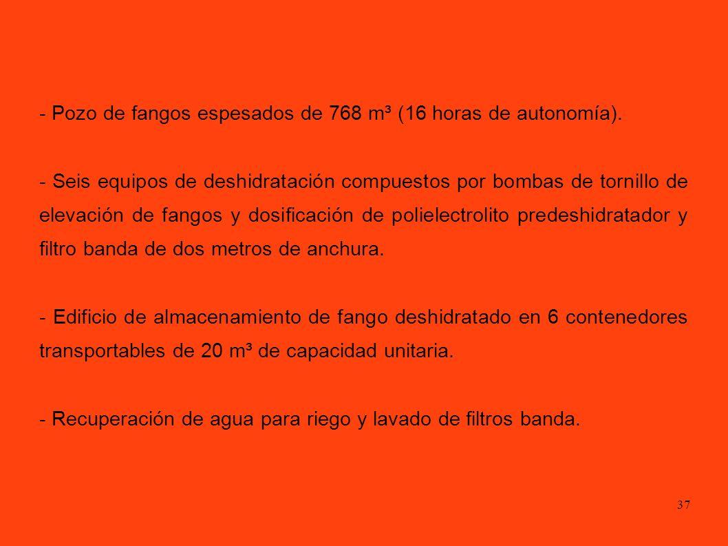 - Pozo de fangos espesados de 768 m³ (16 horas de autonomía).
