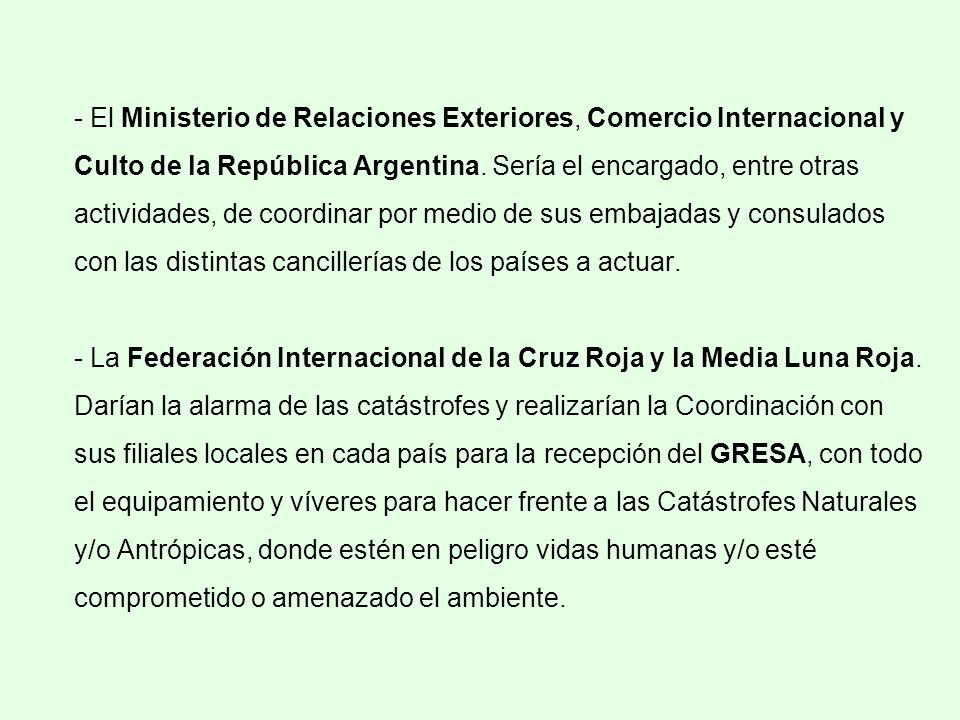 - El Ministerio de Relaciones Exteriores, Comercio Internacional y Culto de la República Argentina.