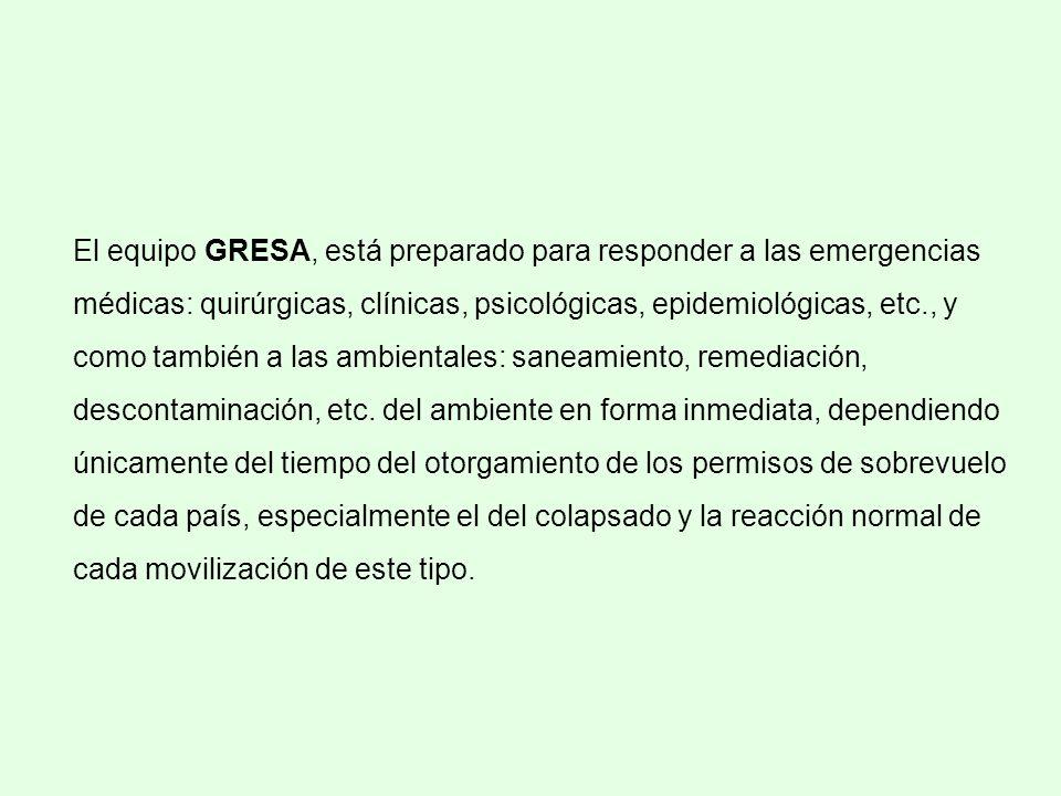 El equipo GRESA, está preparado para responder a las emergencias médicas: quirúrgicas, clínicas, psicológicas, epidemiológicas, etc., y como también a las ambientales: saneamiento, remediación, descontaminación, etc.