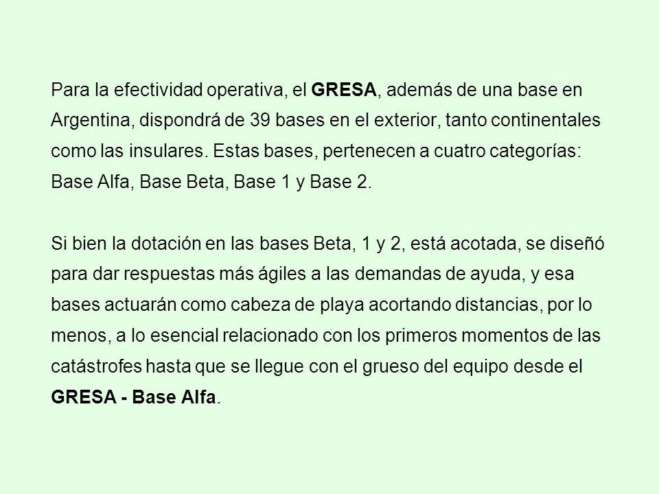 Para la efectividad operativa, el GRESA, además de una base en Argentina, dispondrá de 39 bases en el exterior, tanto continentales como las insulares.