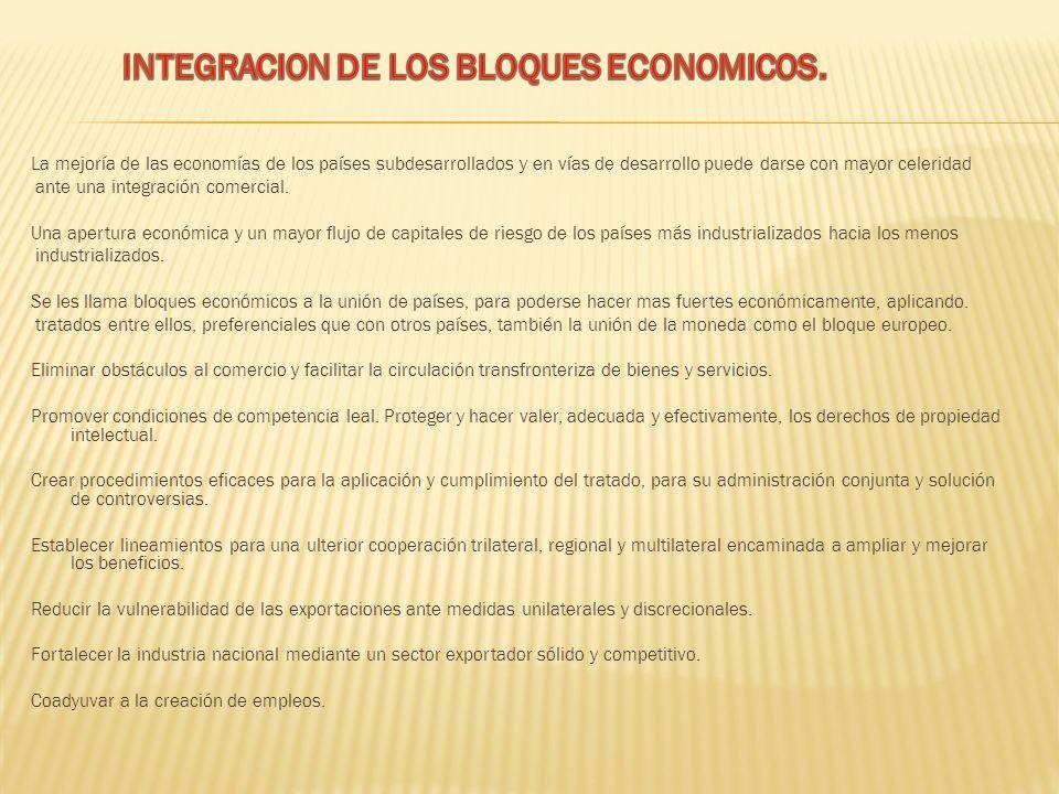 INTEGRACION DE LOS BLOQUES ECONOMICOS.