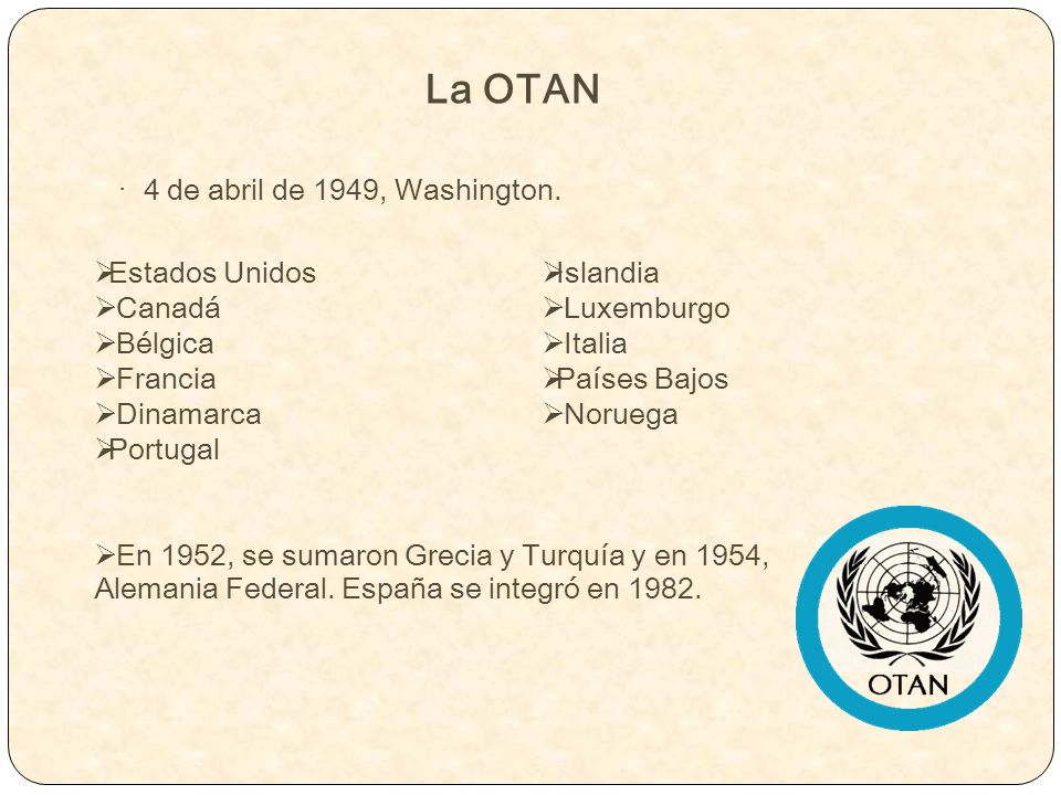 La OTAN · 4 de abril de 1949, Washington. Estados Unidos Canadá