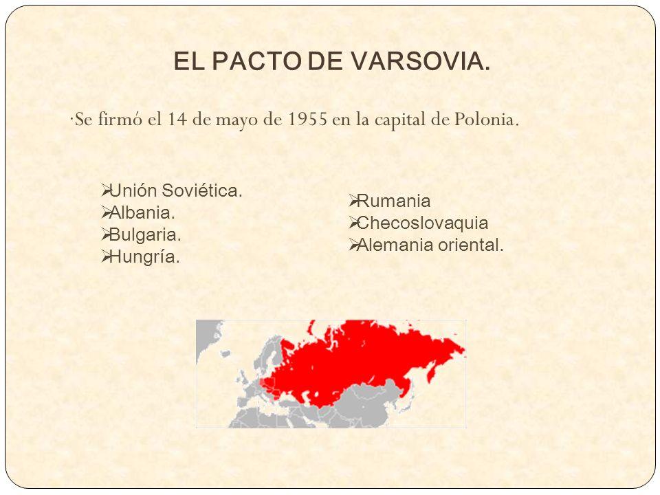 EL PACTO DE VARSOVIA. ·Se firmó el 14 de mayo de 1955 en la capital de Polonia. Unión Soviética. Albania.