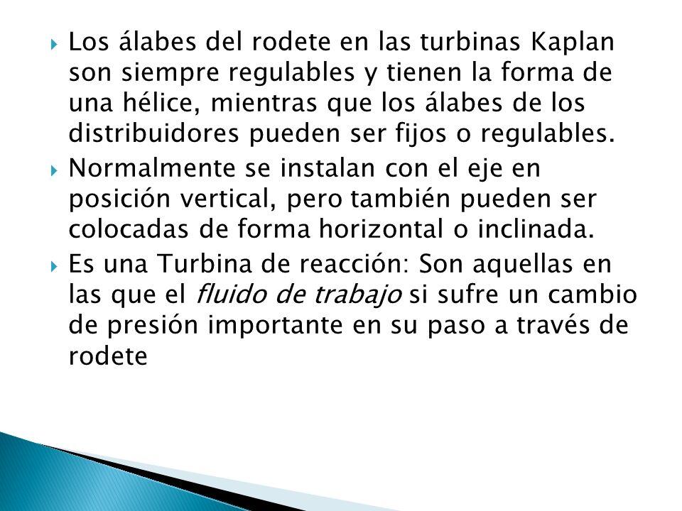 Los álabes del rodete en las turbinas Kaplan son siempre regulables y tienen la forma de una hélice, mientras que los álabes de los distribuidores pueden ser fijos o regulables.