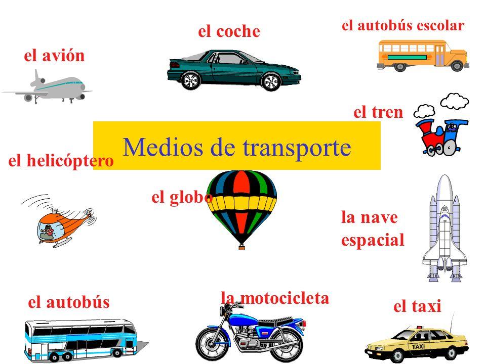 Medios de transporte el coche el avión el tren el helicóptero el globo