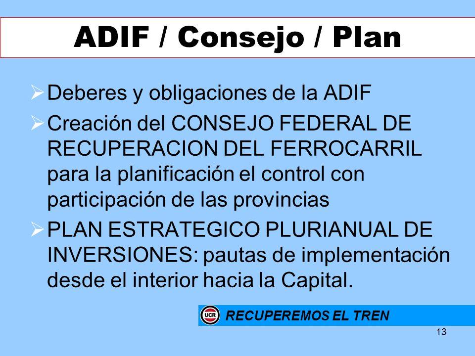 ADIF / Consejo / Plan Deberes y obligaciones de la ADIF