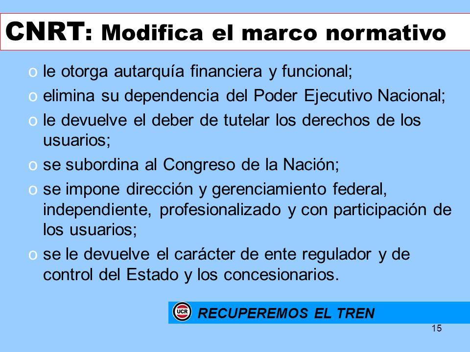 CNRT: Modifica el marco normativo