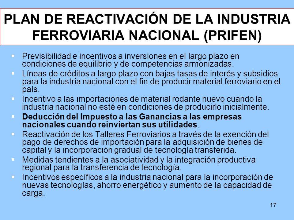 PLAN DE REACTIVACIÓN DE LA INDUSTRIA FERROVIARIA NACIONAL (PRIFEN)