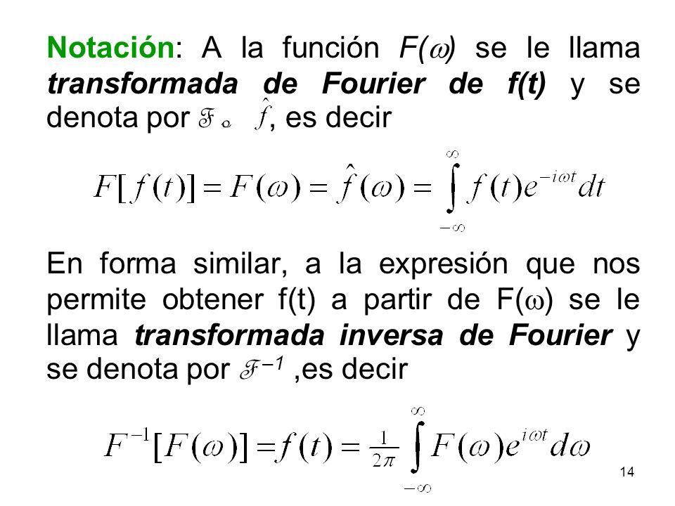 Notación: A la función F(w) se le llama transformada de Fourier de f(t) y se denota por F o , es decir