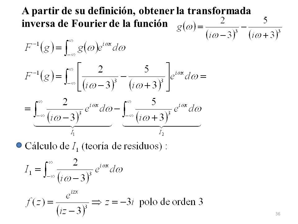 A partir de su definición, obtener la transformada inversa de Fourier de la función