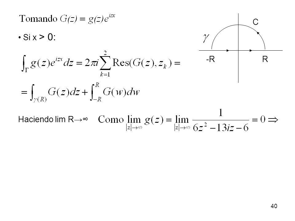-R R C Si x > 0: Haciendo lim R→∞