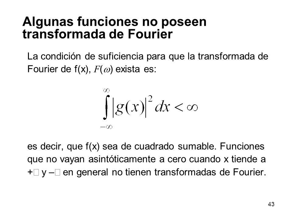 Algunas funciones no poseen transformada de Fourier