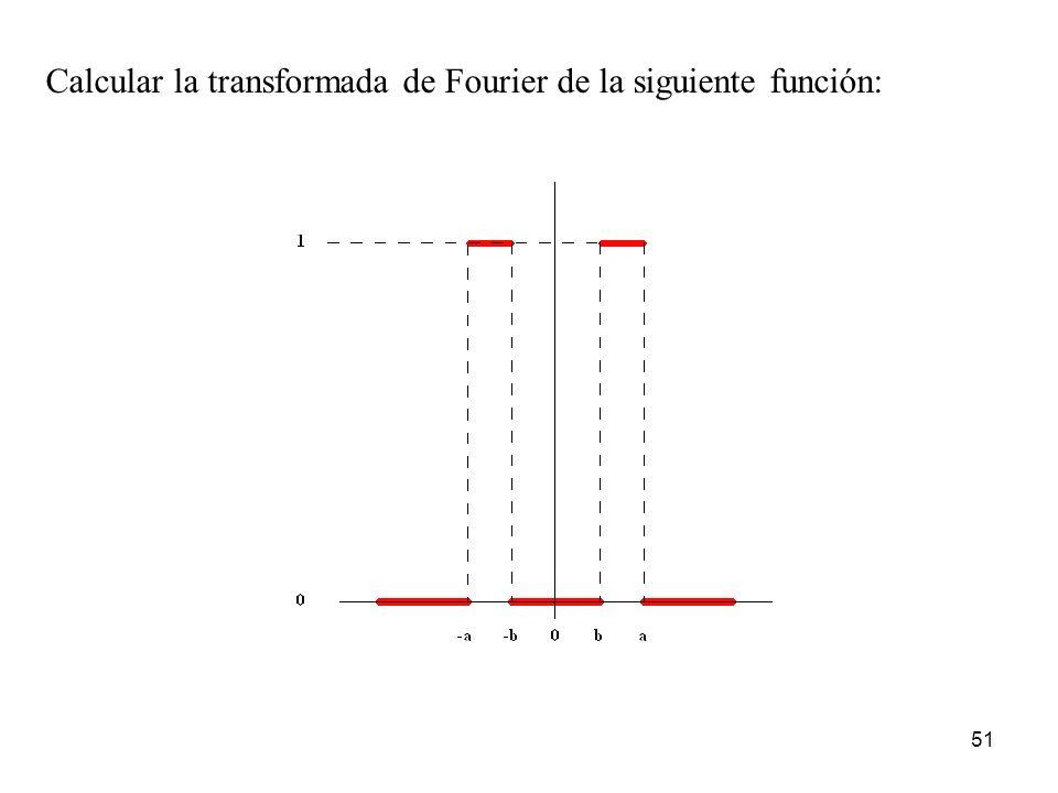 Calcular la transformada de Fourier de la siguiente función: