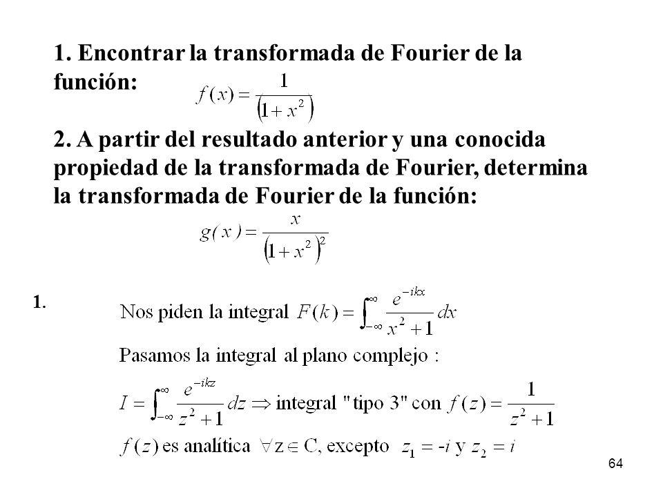 1. Encontrar la transformada de Fourier de la función: