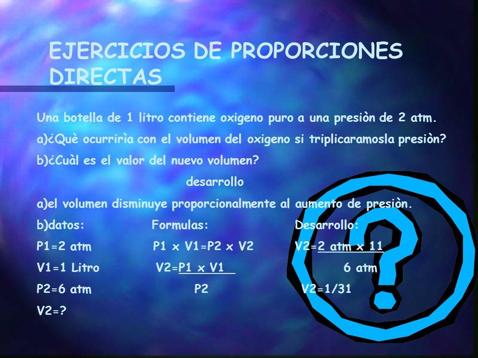 EJERCICIOS DE PROPORCIONES DIRECTAS