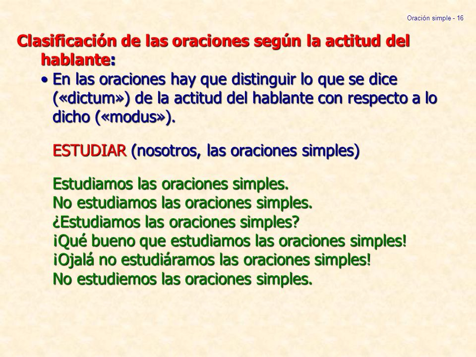 Oración simple - 16