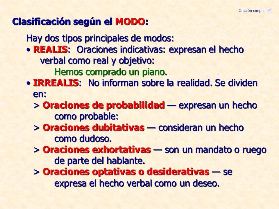 Clasificación según el MODO: