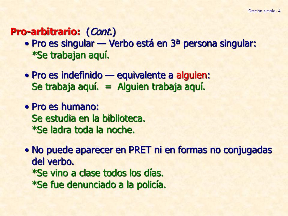Oración simple - 4