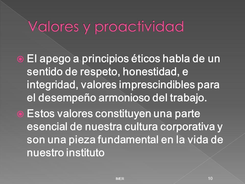 Valores y proactividad