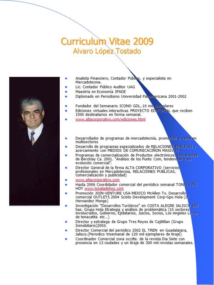 Curriculum Vitae 2009 Alvaro López Tostado