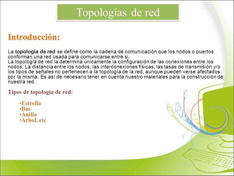 Topologías de red Introducción: Tipos de topología de red: Estrella