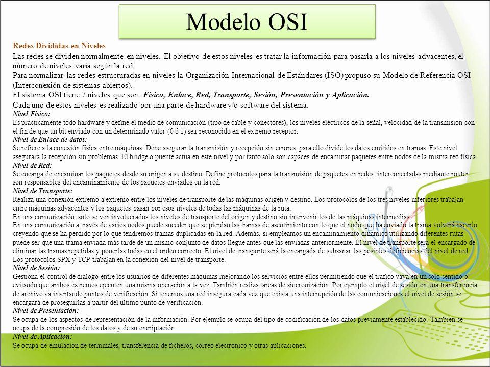 Modelo OSI Redes Divididas en Niveles