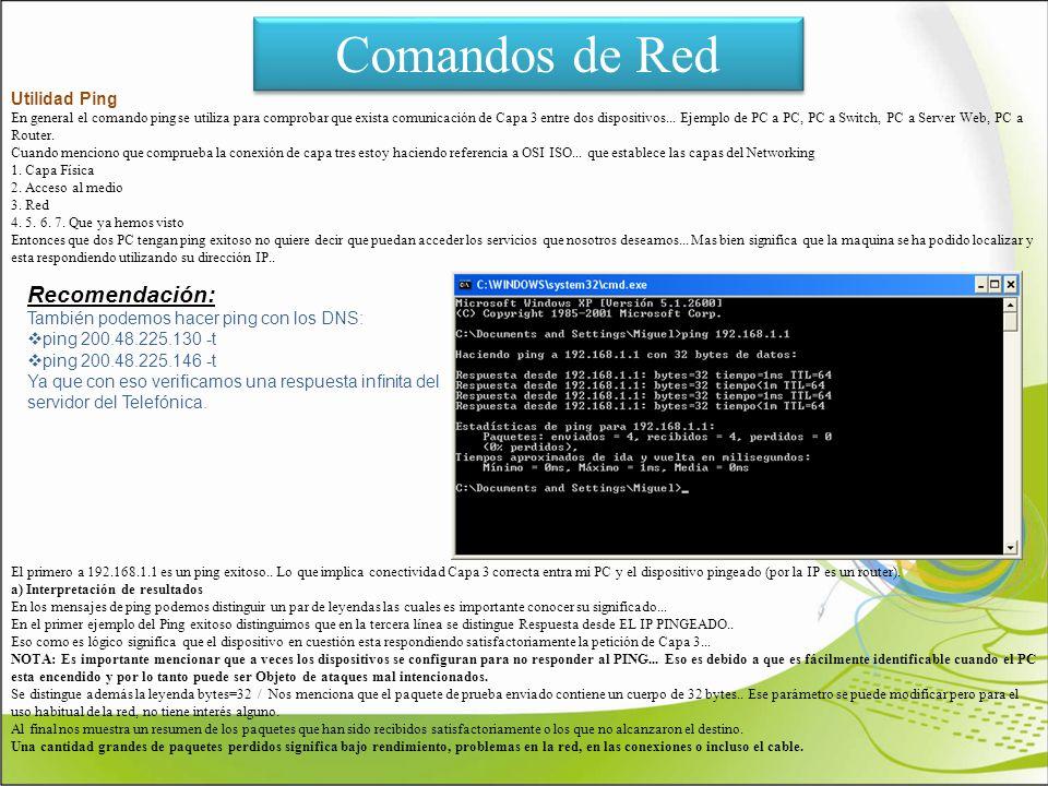 Comandos de Red Recomendación: Utilidad Ping