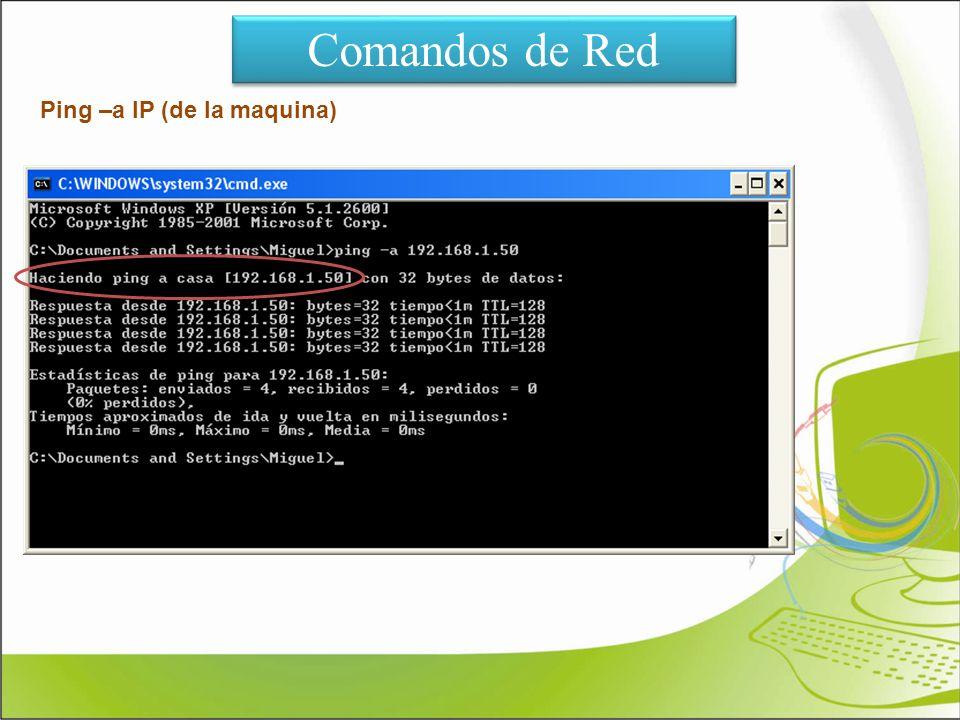 Comandos de Red Ping –a IP (de la maquina)