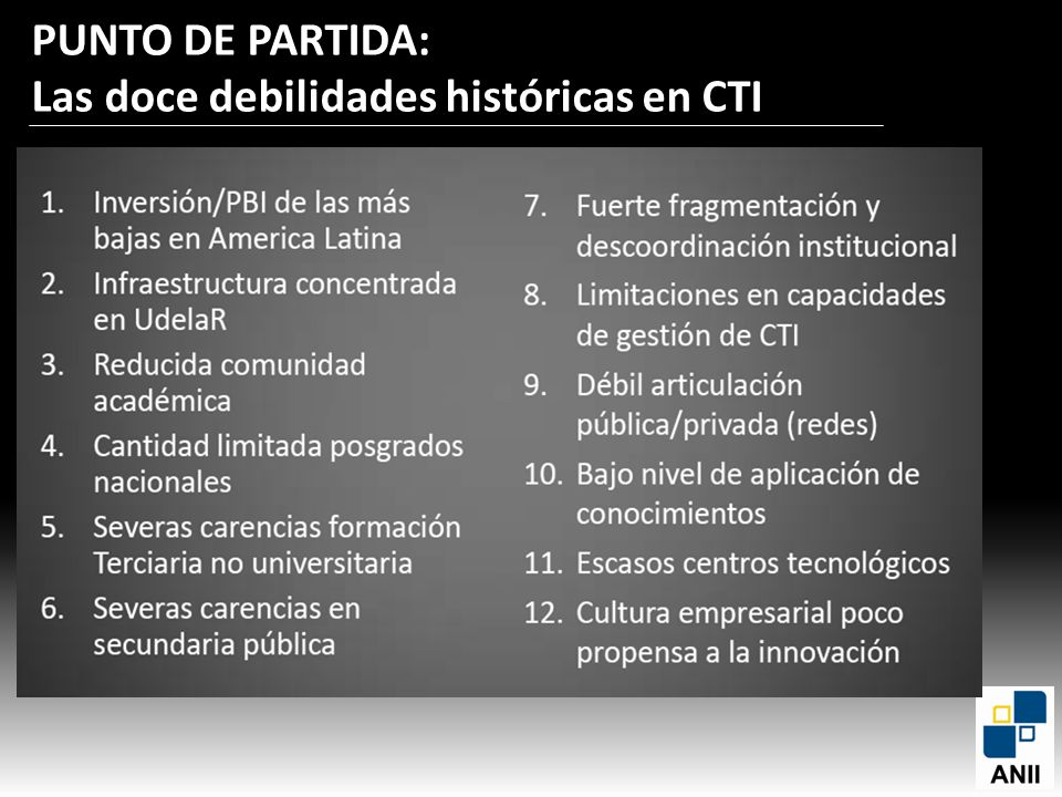 PUNTO DE PARTIDA: Las doce debilidades históricas en CTI