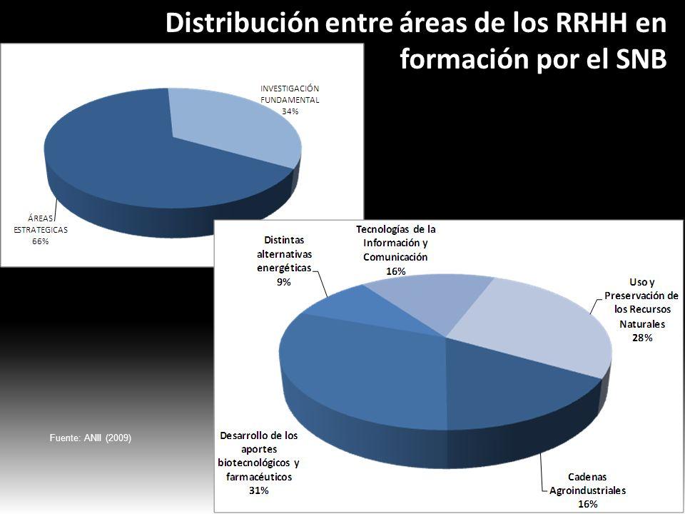 Distribución entre áreas de los RRHH en formación por el SNB