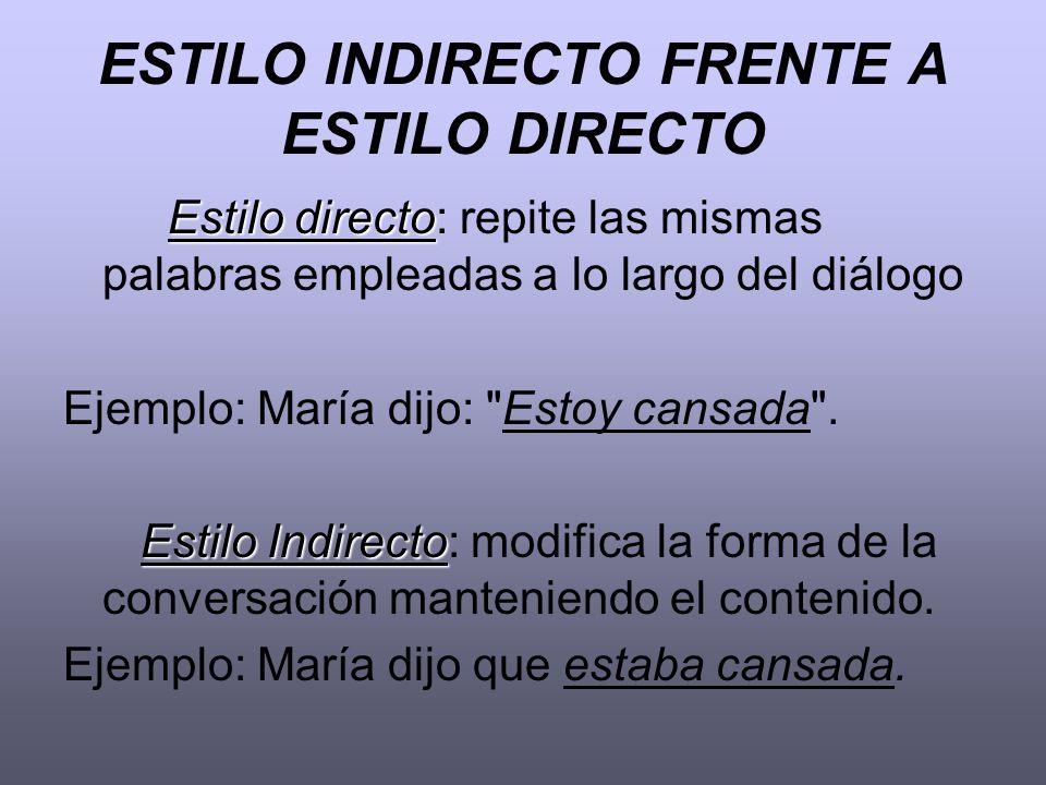 ESTILO INDIRECTO FRENTE A ESTILO DIRECTO