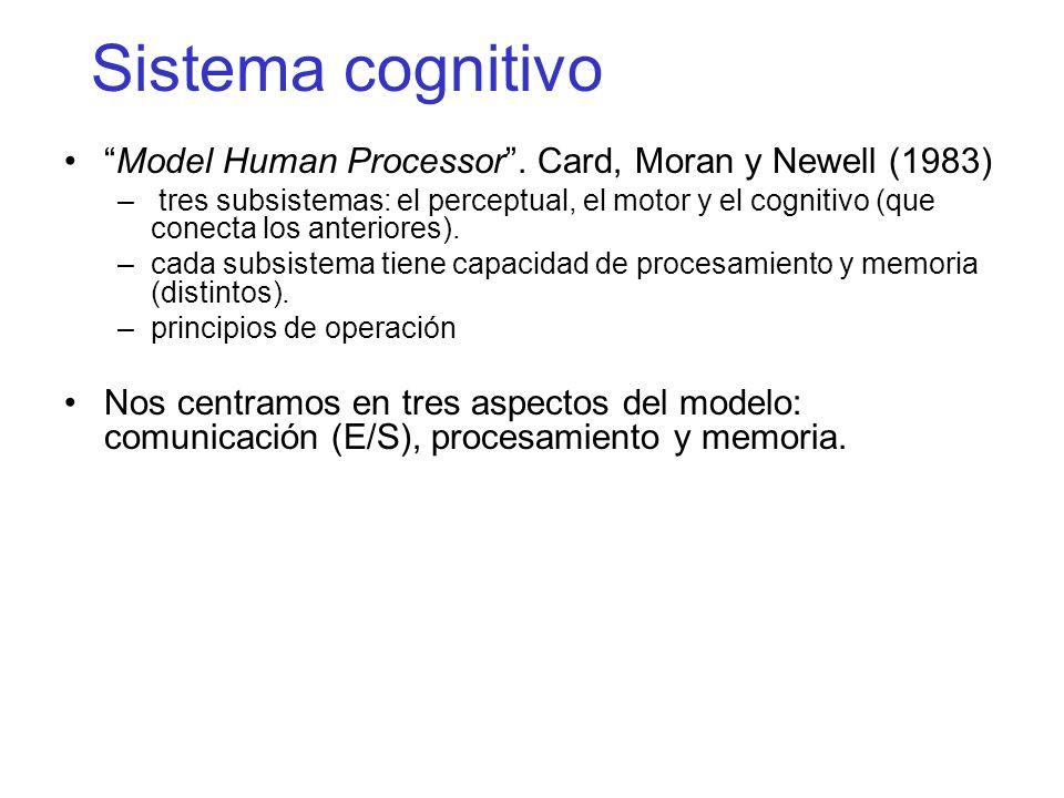 Sistema cognitivo Model Human Processor . Card, Moran y Newell (1983)