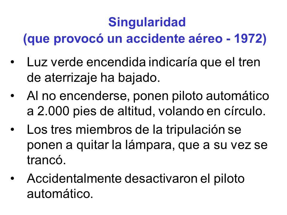 Singularidad (que provocó un accidente aéreo - 1972)