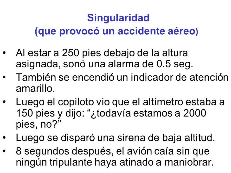 Singularidad (que provocó un accidente aéreo)