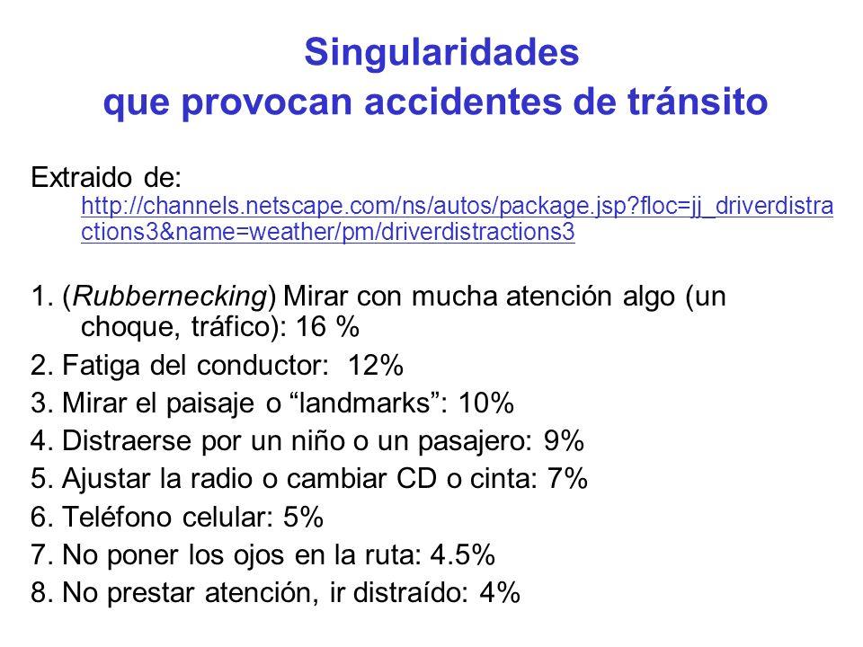 Singularidades que provocan accidentes de tránsito