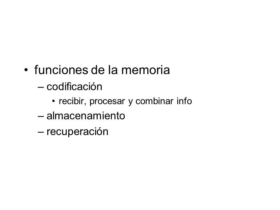 funciones de la memoria