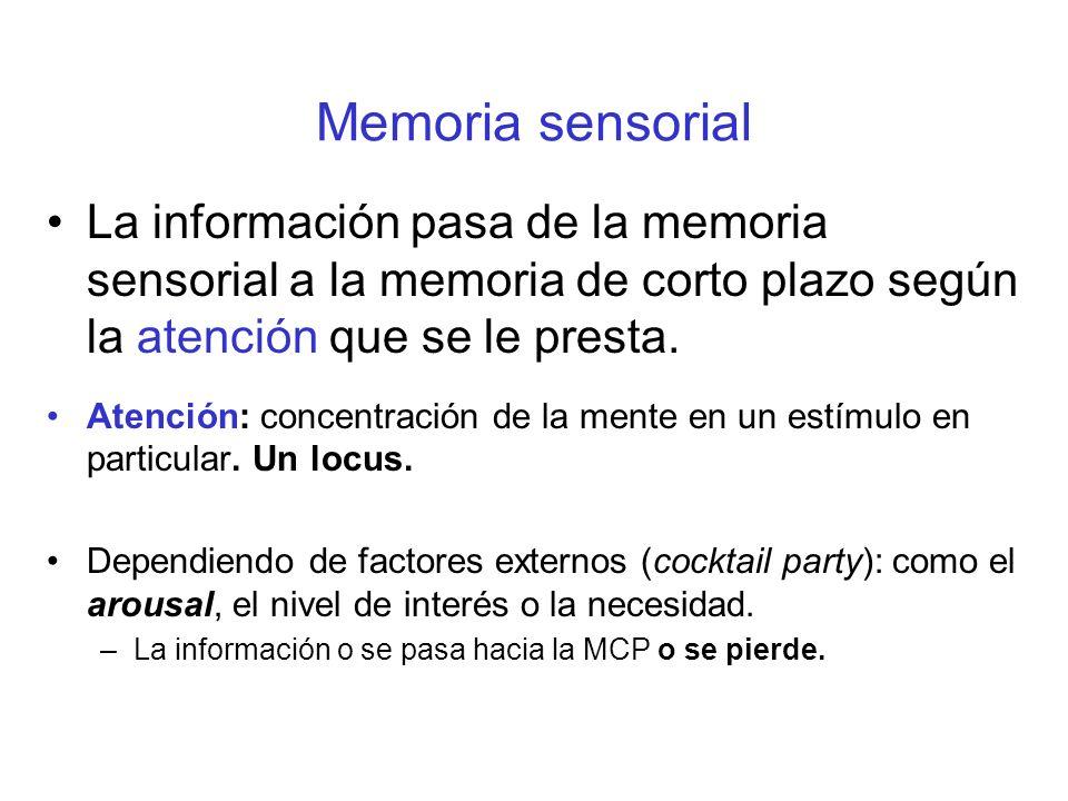 Memoria sensorial La información pasa de la memoria sensorial a la memoria de corto plazo según la atención que se le presta.