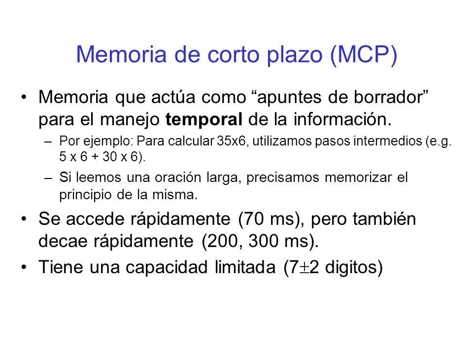 Memoria de corto plazo (MCP)