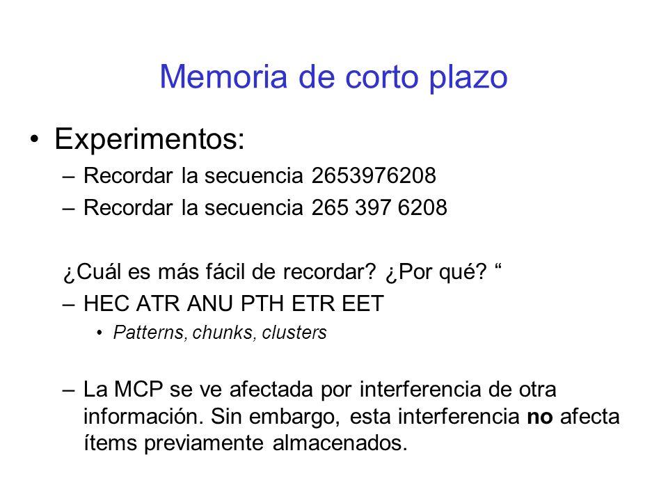 Memoria de corto plazo Experimentos: Recordar la secuencia 2653976208