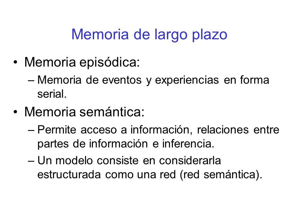 Memoria de largo plazo Memoria episódica: Memoria semántica: