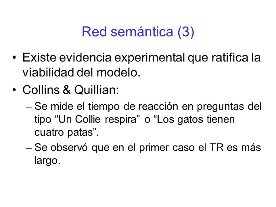 Red semántica (3) Existe evidencia experimental que ratifica la viabilidad del modelo. Collins & Quillian:
